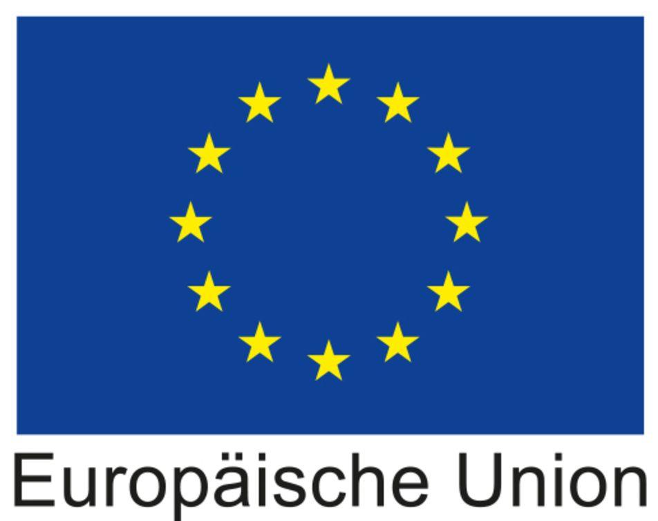 Logo Europäische Union - blau mit einem Kreis dessen Rand aus aus Sternen besteht