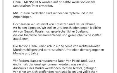 Wir trauern um die Opfer von Hanau